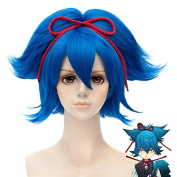 EDAY 30cm Short Blue Curly Wig Seraph of the End anti-Alice Cosplay wig Costume Wigs anti-Alice Cosplay