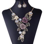 Gold Plated Alloy Embossed Rhinestone Rose Bib Necklace Jewellery Set