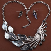 HongHu Retro Tibetan Silver Gloomy Peacock Crystal Bib Earrings Necklace Set for Women
