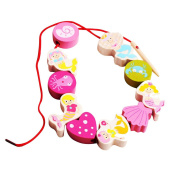 Colourful Lacing Wooden Mermaid Beads Threading Beads Kids Learning Pink Toys