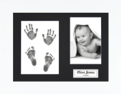 BabyRice New Baby Handprint Footprint Kit, Inkless Wipe with White Display Frame, Black Mount 0-3 yrs