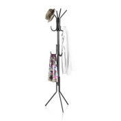 LANGRIA 3 Tier 11 Hook Free Standing Coat and Hat Rack for Garage Foyer Office Closet, Black