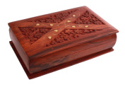 Decorative Wooden Jewellery Trinket Keepsake Box Organiser Storage Chest Handmade with Floral Carvings & Brass Inlay