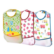 Blulu Waterproof Baby Bibs with Food Catcher Pocket, 3 Pack