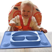 EasyMat Kids Placemat & Divided Suction Plate In One with Spoon. No Mess Toddler & Baby Happy Face Feeding Set. Suction Bowl Sectional Baby Plate. From Baby Led Weaning Age 6 Month+ by Tots R Us