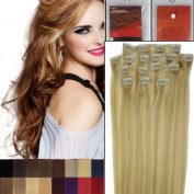 46cm Full Head Clip in Human Hair Extensions. High quality Remy Hair 100g Weight 12 Colours