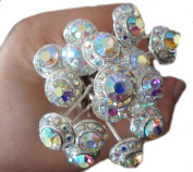 20 Crystal Bridal Hair Accessory STUD SHAPE Hairdressing Pins Prom Clip Diamante Diamond Coloured