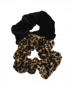 Zac's Alter Ego® Set of 2 Hair Scrunchies - 1 Velvet Leopard Print and 1 Plain Velvet