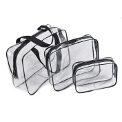 toiletry bag - TOOGOO(R) Hot 3pcs Clear Cosmetic Toiletry PVC Travel Wash Makeup Bag