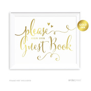 Andaz Press Wedding Party Signs, Metallic Gold Ink Print, 22cm x 28cm , Please Sign our Guestbook, 1-Pack, Gold Foil Alternative