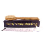 Premium Bamboo Bath Body Brush for Wet / Dry Brushing. 41cm long with easy to grip handle and complimentary shower hook! Perfect GIFT! Get silky smooth skin or your money back!