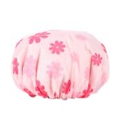 Surker Women's Waterproof Double Layer Shower Cap Elastic Band Bathing Cap Spa Shower Hat