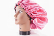 (X-Large, FUCHSIA) New 60cm Handmade Fully Reversible - High Quality Luxuries Pure Satin Hair Bonnet Safe For All Hair Types - Most Beneficial Hair care Product Available - Royal Sensations Hair Bonnet