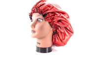 (X-Large, RED) New 60cm Handmade Fully Reversible - High Quality Luxuries Pure Satin Hair Bonnet Safe For All Hair Types - Most Beneficial Hair care Product Available - Royal Sensations Hair Bonnet
