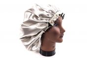 (X-Large, IVORY) New 60cm Handmade Fully Reversible - High Quality Luxuries Pure Satin Hair Bonnet Safe For All Hair Types - Most Beneficial Hair care Product Available - Royal Sensations Hair Bonnet