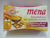 Mena Herbal Soap with Scrub Curcumin Honey Anti-ageing Acne Dark Spot Soap 100g.