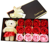 Keral Rose Soap Flower With Little Bear Great For Valentine'S Day Gifts Red