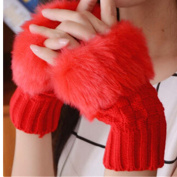 EVTECH(TM) New Women Ladies Winter Warm Knitted Faux Rabbit Fur Fingerless Gloves Mitten