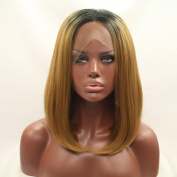 Heat Resistant Fibre Hair ombre black to brown bob colour dark root Synthetic lace front wig for women.