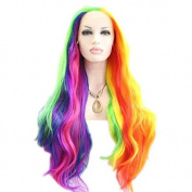 Kylie Jenner Heat Resistant Fibre Hair mermaid drag queen piano colour body wave Synthetic lace front wig for women.