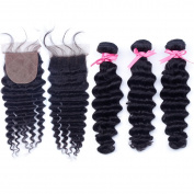 Hermay Hair Deep Curly Brazilian Virgin Hair Silk Base Closure(4x4) With 3 Bundles,Brazilian Deep Curly With Closure,Virgin Human Hair Weave Bundles,7A Grade Natural Colour