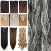 26 Inches(66cm) 8pcs Long Full Head Clip in Hair Extensions Extension Sexy Lady Fashion Choice Straight natural black & bleach blonde