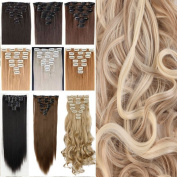 26 Inches(66cm) 8pcs Long Full Head Clip in Hair Extensions Extension Sexy Lady Fashion Choice Straight sandy blonde & bleach blonde
