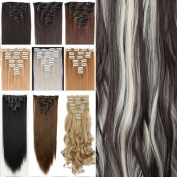 26 Inches(66cm) 8pcs Long Full Head Clip in Hair Extensions Extension Sexy Lady Fashion Choice Straight dark brown & bleach blonde