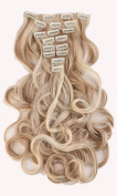 24 Inches(61cm) 8pcs Long Full Head Clip in Hair Extensions Extension Sexy Lady Fashion Choice Curly sandy blonde & bleach blonde