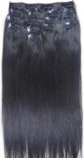 Women 38cm ~90cm Remy Clips in Human Hair Extensions Straight Hair 70g/100g/140g Natural Black #1B