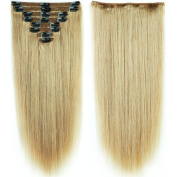 s-noilite 25cm - 60cm Thick Double Weft 130-160g Grade 7A 100% Clip in Remy Human Hair Extensions Full Head 8 Piece