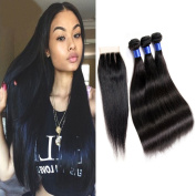 HC Diva-Brazilian Virgin Straight Hair Weft 3 Bundles With 3 Part Closure 7a Unprocessed Real Remy Hair Extensions Brazilian Human Hair Weaving Natural Colour