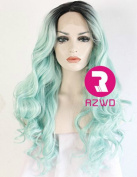 RZWD Women's Wavy Ombre Light Green Dark Roots Long Synthetic Hair Best Lace Front Wigs for Party Half Hand Tied Heat Friendly Wig 60cm