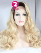 RZWD Natural Looking Blonde Wavy Synthetic Hair Ombre Wigs for Women Lace Front Wig Half Hand Tied High Quality Heat OK 60cm