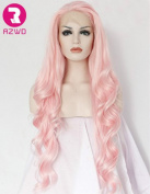 RZWD Women's Long Wavy Pink Synthetic Hair Wigs for Cosplay Half Hand Tied Glueless Lace Front Wig Heat Resistant Fibre 60cm