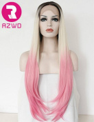 RZWD Beauty Pink Wigs Synthetic Hair Lace Front Wig for Girls Ombre Blonde Dark Roots Straight Half Hand Tied Heat Resistant Fibre 60cm