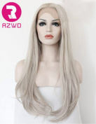RZWD Realistic Wigs for Women Light Grey Natural Straight Long Synthetic Hair Heat Safe Glueless Lace Front Wig 60cm