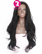 RZWD Natural Looking Long Wavy Synthetic Hair Lace Front Wigs For Women Heat Resistant Fibre #1B 60cm