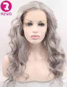 RZWD Natural Looking Realistic Wigs for Girls Grey Wavy Synthetic Hair Lace Front Wig Half Hand Tied Heat Friendly 60cm