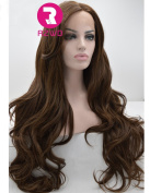 RZWD Realistic Wigs for Women Chocolate Colour Natural Wavy Long Synthetic Hair Glueless Lace Front Wig Half Hand Tied Heat Safe 70cm