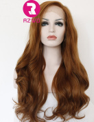 RZWD Natural Looking Brown Wavy Long Synthetic Hair Best Lace Front Wigs for Women Half Hand Tied Heat Resistant Fibre 60cm