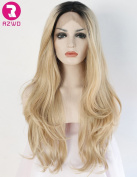 RZWD Natural Looking Ombre Blonde Wavy Dark Roots Long Synthetic Hair Lace Front Wigs for Women Heat OK Half Hand Tied Wig 60cm