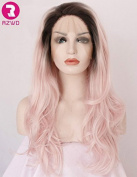 RZWD Cute Baby Pink Wavy Wig Ombre Hair Long Glueless Synthetic Lace Front Wigs for Ladies Half Hand Tied Heat Resistant Fibre 60cm