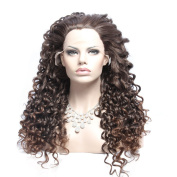 Wigshow® Heat Resistant Fibre Curly Synthetic Lace Front Wig Long Fluffy Wigs with Baby Hair for African American Synthetic Lace Front Wig Brown Colour 60cm