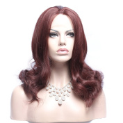 Wigshow® Hot European USA Pear Flower Style Claret-red Colour Wigs for Women Curly Hair Wigs Synthetic Natural Looking Wig