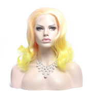 Wigshow® Body Wave Yellow Mix Pink Colour Ombre Colour Lolita Short Style Synthetic Lace Front Wig For Women 41cm