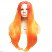 Wigshow® Red Mix Yellow Colour Ombre Multi-colour Lolita Cosplay Synthetic Lace Front Wig For Women 60cm
