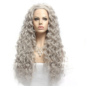 Wigshow® Grey Colour Charming Curly Long Hair Style Heat Resistant Synthetic Lace Front Wig For Women 60cm