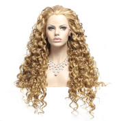 Wigshow® Blonde Colour Charming Curly Long Hair Style Heat Resistant Synthetic Lace Front Wig For Women 60cm