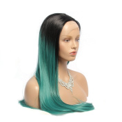 Wigshow® Heat Friendly Synthetic Fibre Lace Front Hair Wig Black Ombre Green Colour Long Length Straight Hairstyle Wig 60cm